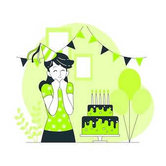 Ilustração de conceito de bolo de aniversário