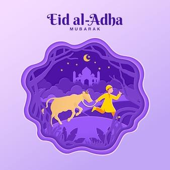 Ilustração de conceito de cartão eid al-adha em estilo de corte de papel com menino muçulmano trazer gado para sacrifício