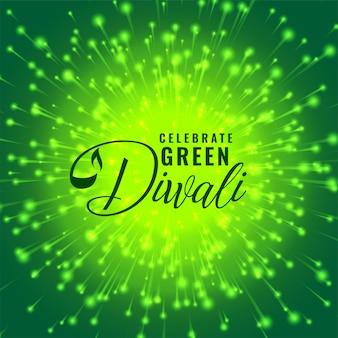 Ilustração de conceito de celebração de fogo de artifício de diwali verde