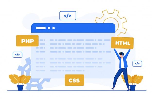 Ilustração de conceito de codificação de programa para modelo de página de destino