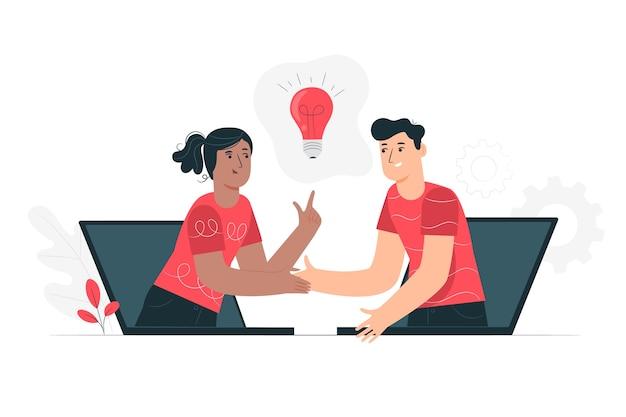 Ilustração de conceito de colaboração ao vivo