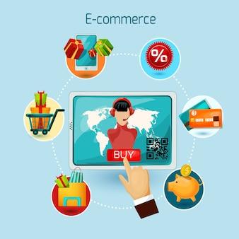 Ilustração de conceito de comércio eletrônico