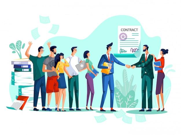 Ilustração de conceito de conclusão de contrato