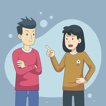 Ilustração de conceito de conflitos de casal