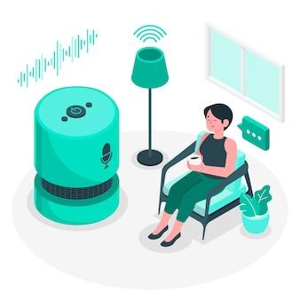 Ilustração de conceito de controle de voz