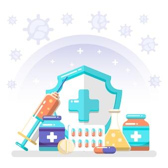 Ilustração de conceito de cura de vírus