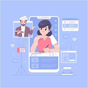 Ilustração de conceito de cursos on-line para educação em casa