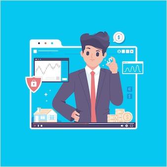 Ilustração de conceito de cursos on-line para empreendedor de negócios