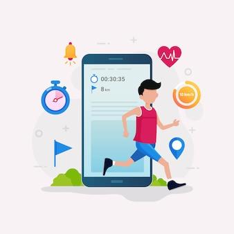 Ilustração de conceito de design de app de rastreador de fitness