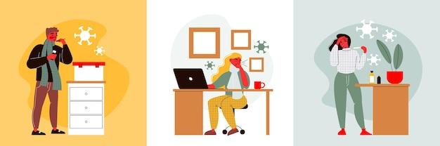 Ilustração de conceito de design de gripe com pessoas ficando frias