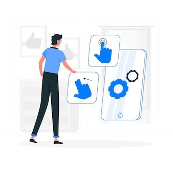 Ilustração de conceito de design de interação