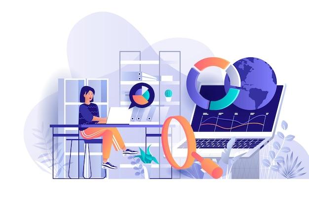 Ilustração de conceito de design plano de análise de big data de personagens de pessoas