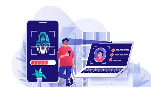 Ilustração de conceito de design plano de controle de acesso biométrico de personagens de pessoas