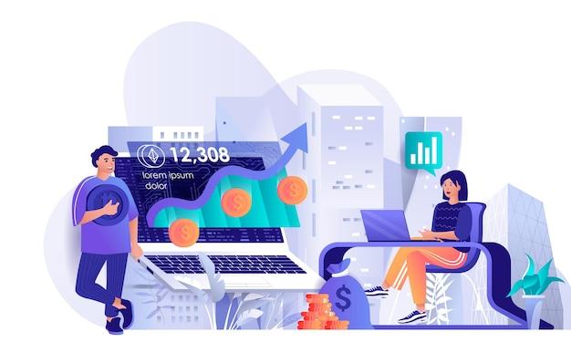 Ilustração de conceito de design plano de investimento em criptomoeda de personagens de pessoas Vetor Premium