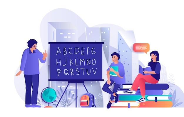 Ilustração de conceito de design plano de volta às aulas de personagens de pessoas