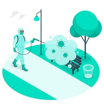 Ilustração de conceito de desinfecção de vírus