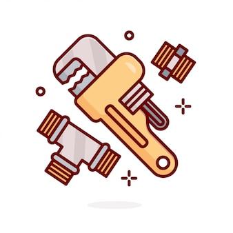 Ilustração de conceito de ferramenta de encanador