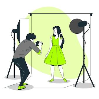 Ilustração de conceito de fotógrafo de estúdio