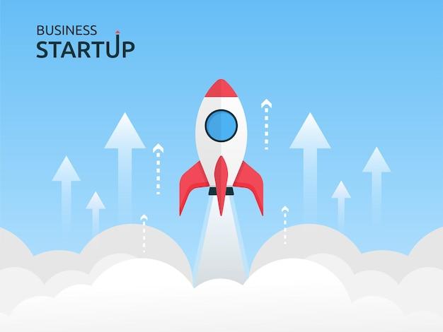 Ilustração de conceito de inicialização de negócios com vôo de foguete voando no céu