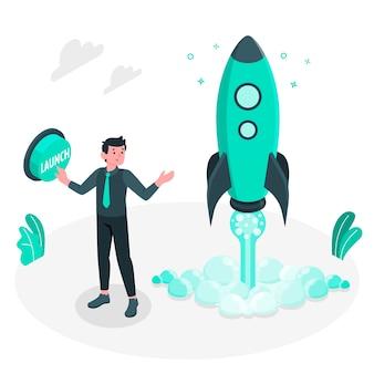 Ilustração de conceito de lançamento de mercado