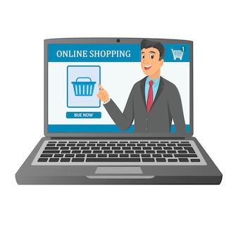 Ilustração de conceito de laptop de compras na internet.