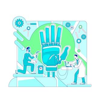 Ilustração de conceito de linha fina de ciência de próteses