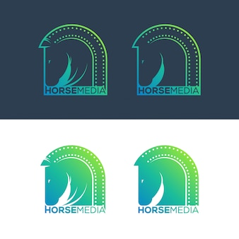 Ilustração de conceito de logotipo de mídia de cavalo.