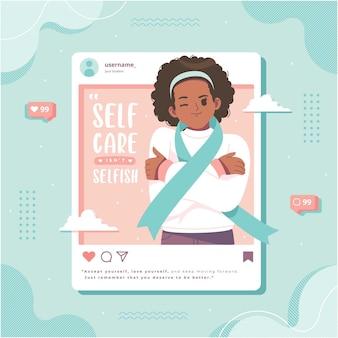 Ilustração de conceito de mídia social de autocuidado