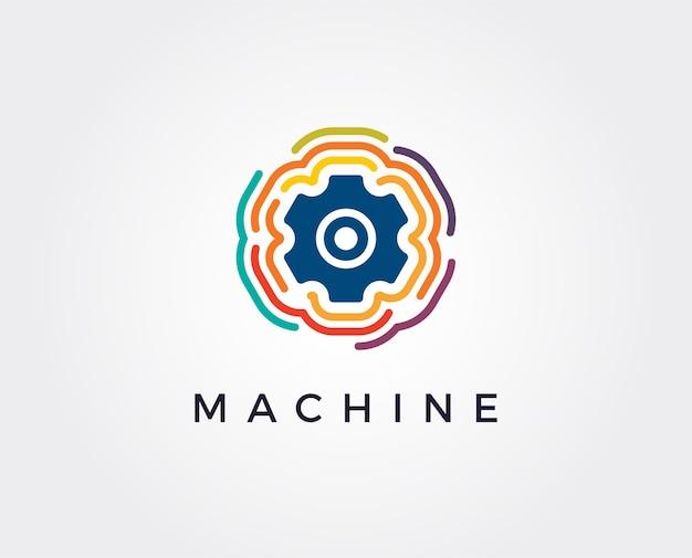 Ilustração de conceito de modelo de logotipo de negócios de tecnologia digital gear e