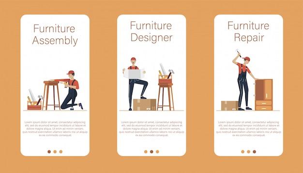 Ilustração de conceito de montagem de móveis. trabalhadores de fabricação com ferramentas profissionais. ajuda do profissional da loja de móveis. ilustração plana dos desenhos animados