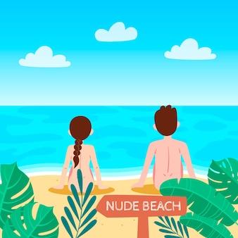 Ilustração de conceito de naturismo de design plano