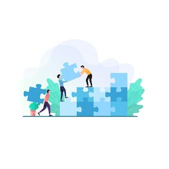 Ilustração de conceito de negócio e trabalho em equipe