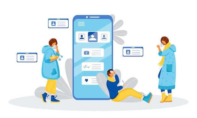 Ilustração de conceito de pacientes indispostos