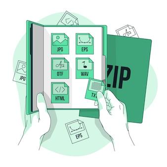Ilustração de conceito de pacote de arquivos