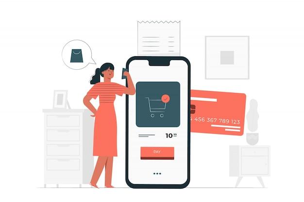 Ilustração de conceito de pagamento com cartão de crédito