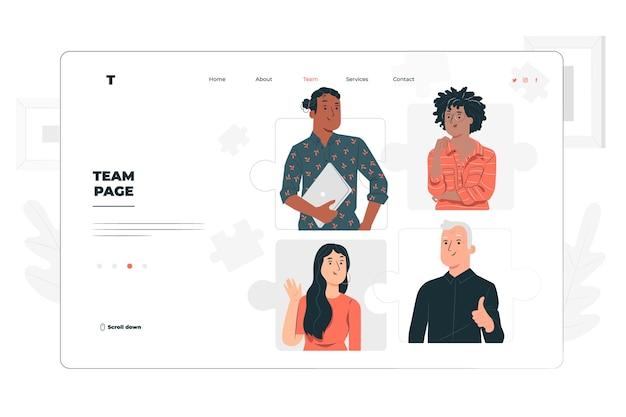 Ilustração de conceito de página de equipe