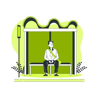 Ilustração de conceito de parada de ônibus