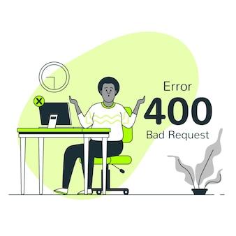 Ilustração de conceito de pedido ruim de erro 400