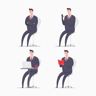 Ilustração de conceito de personagem empresário vestindo ternos sentado smartphone gadget laptop livro