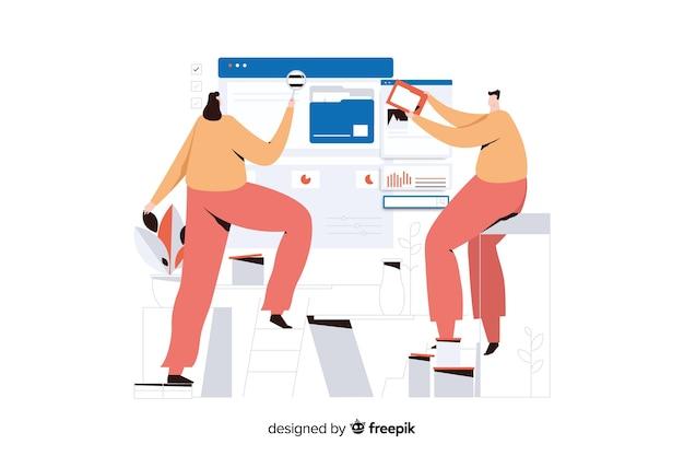 Ilustração de conceito de pesquisa de arquivo