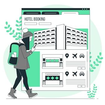 Ilustração de conceito de reserva de hotel