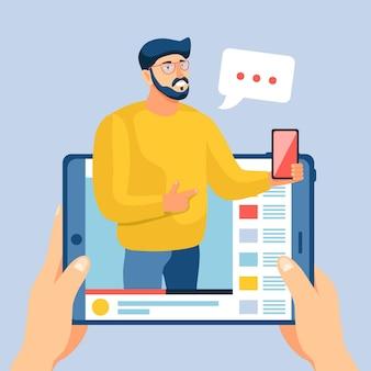Ilustração de conceito de revisão do blogger com homem