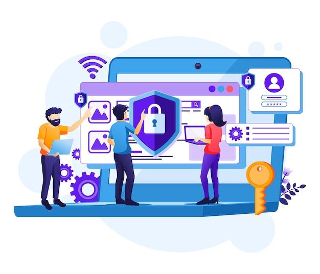 Ilustração de conceito de segurança cibernética, acesso de pessoas e proteção de confidencialidade de dados