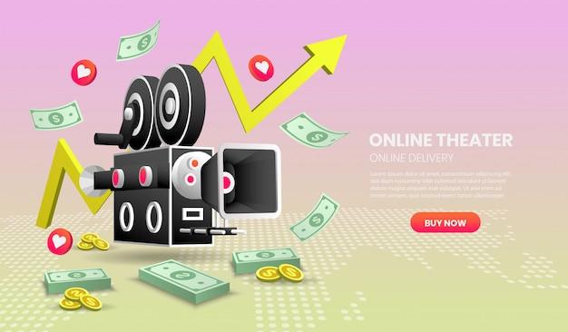 Ilustração de conceito de serviço de cinema on-line. com elementos coloridos.