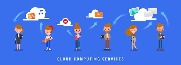 Ilustração de conceito de serviços de computação em nuvem. grupo de pessoas de pé com seu smartphone e tablet. transferência de arquivos através da rede de computadores na nuvem. personagem de desenho animado estilo design plano.