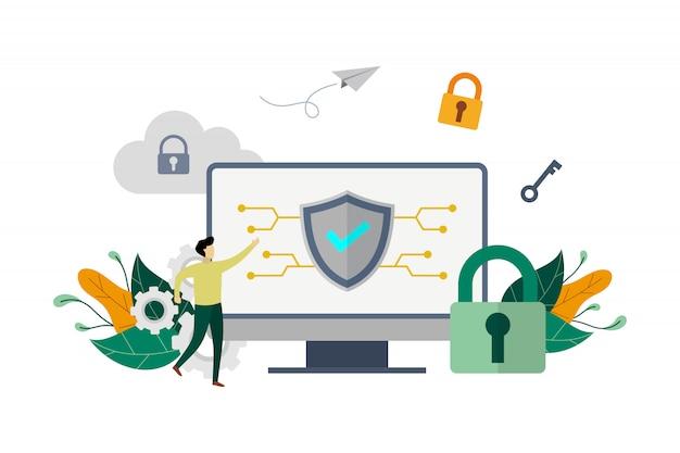 Ilustração de conceito de sistema de segurança de computador