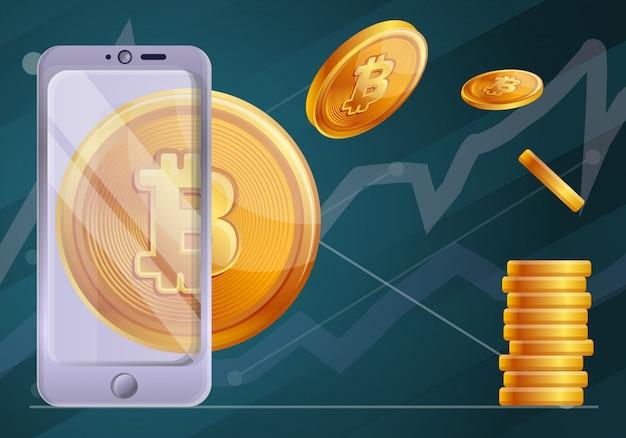 Ilustração de conceito de tecnologia blockchain, estilo cartoon