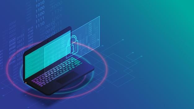 Ilustração de conceito de tecnologia de negócios de segurança de dados de laptop
