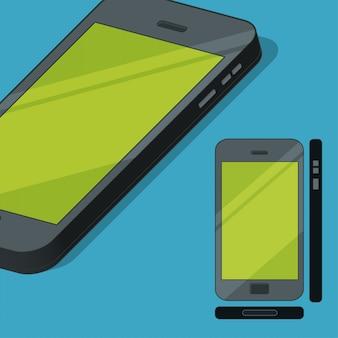 Ilustração de conceito de telefone móvel de estilo simples