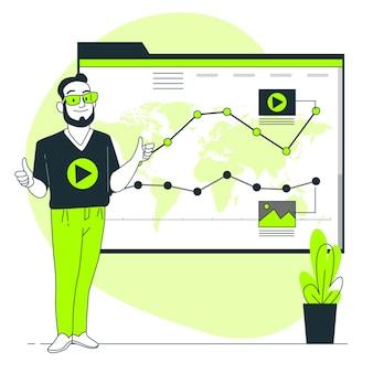 Ilustração de conceito de tendências de dados